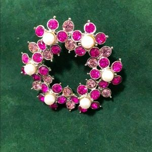 Sparkly Pink & White Brooch